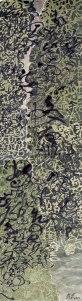 Nuages Montagnes 12, 137 cm x 35 cm, encre de Chine et pigments naturels sur papier de mûrier, 2016.