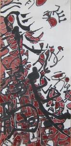 Dragons Volants 10, 64 cm x 35 cm, encre de Chine et pigments naturels sur papier de mûrier, 2017